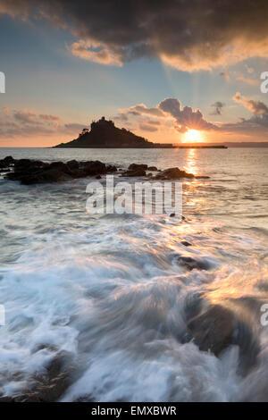 St Michael's Mount; Sunset From Marazion; Cornwall; UK - Stock Photo