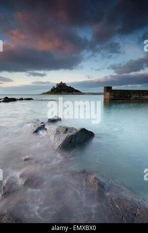 St Michael's Mount Dawn From Marazion; Cornwall; UK - Stock Photo