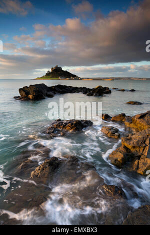 St Michael's Mount; Dawn From Marazion; Cornwall; UK - Stock Photo