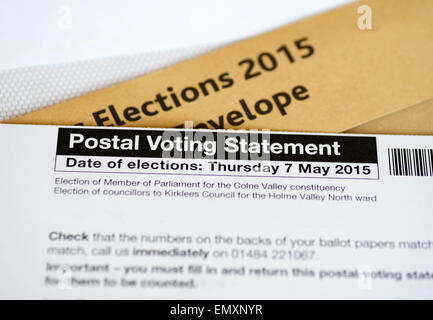 A postal vote for the May 2015 UK Parliamentary General Election, - Stock Photo