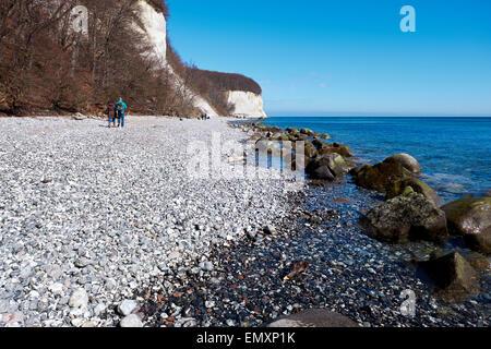 High chalk cliffs at the coast of Rugen island, Jasmund National Park - Stock Photo