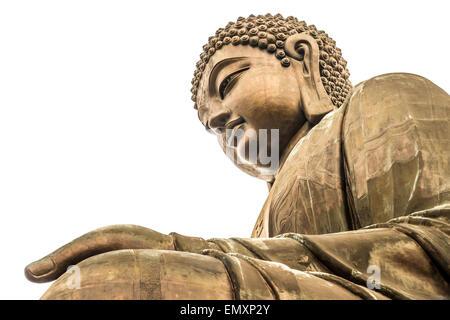Hong-Kong Big Buddha isolated over white background - Stock Photo
