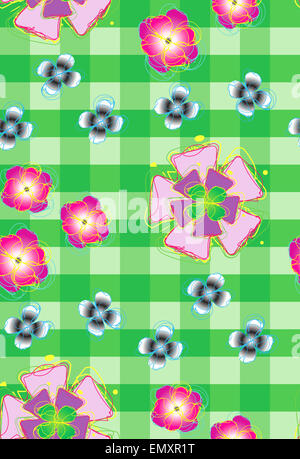 Seamless background with stylized flowers 2 - Stock Photo