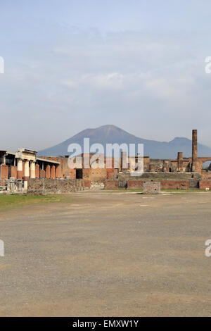 Forum and Temple of Jupiter with Mount Vesuvius in the distance, Pompeii, Italy. - Stock Photo