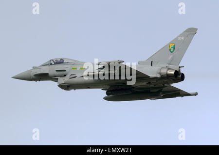 A Royal Air Force Air Force Eurofighter EF-2000 Typhoon FGR4 (ZJ295) takes off from runway 31. - Stock Photo