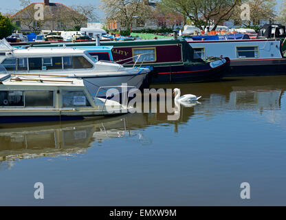 Sinking boat for sale on the Macclesfield Canal in Macclesfield, Cheshire, England UK - Stock Photo