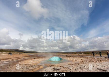 The Great Geysir southwestern Iceland - Stock Photo