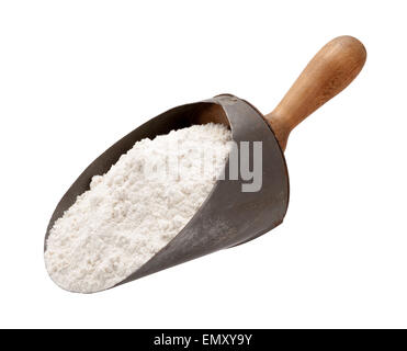 Flour in a Antique Metal Scoop - Stock Photo