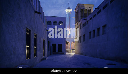 Bur Dubai Heritage Area. Rulers Diwan and Grand Mosque. - Stock Photo