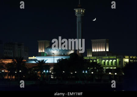 Bur Dubai Heritage Area. Rulers Diwan and Grand Mosque, Dubai, UAE - Stock Photo