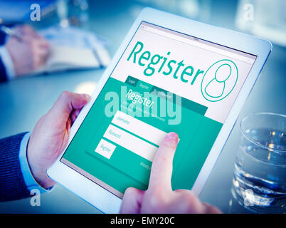 Man Having an Online Registration - Stock Photo