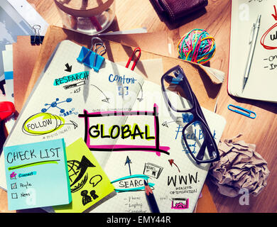 Office Desk with Tools and Notes Global Communication - Stock Photo