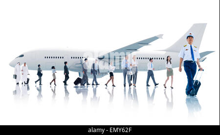 Multiethnic Group of Business People with Airplane - Stock Photo