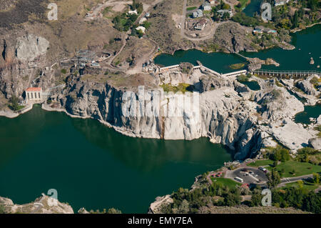 Dried-up Shoshone Falls on the Snake River below Milner Dam in southcentral Idaho; flight courtesy Project Lighthawk - Stock Photo