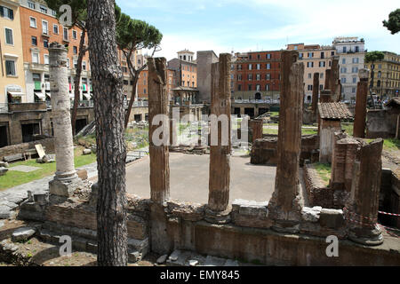 Columns of a former temple in Largo di Torre Argentina in Rome. - Stock Photo