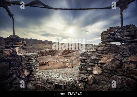 Charyn grand canyon at overcast sunset sky in Kazakhstan - Stock Photo