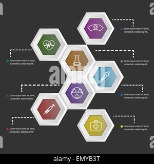 3D hexagon shape infographic on black background, stock vector - Stock Photo