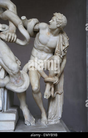 Hellenistic art. Lacoon and his Sons, Antiphantes and Thymbraeus being attacked by sea serpents. Antiphantes. Vatican - Stock Photo