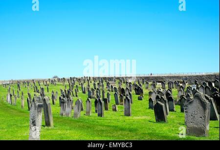 St. Mary's Parish Church graveyard, Whitby, North Yorkshire, Yorkshire, England, United Kingdom, Europe - Stock Photo