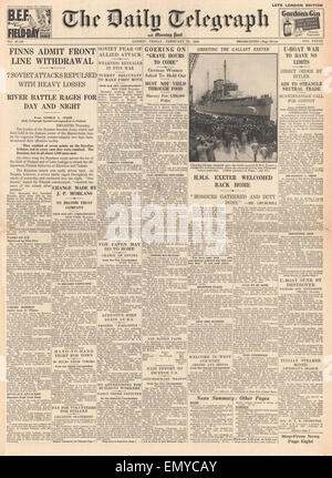 1940 front page Daily Telegraph Finnish withdrawal from front line HMS Exeter arrives in Plymouth on her return - Stock Photo