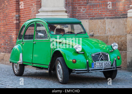 Old green Citroen 2CV in the city of Muenster, Germany - Stock Photo