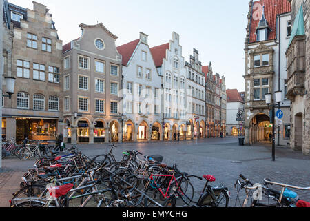 Bicycles in the old town of Muenster, North Rhine Westphalia, Germany - Stock Photo