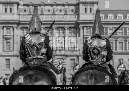 A sepia tone portrait of The Blues and Royals Household Cavalry Horse Guards Parade London England UK - Stock Photo
