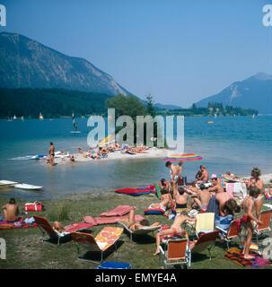 Ein Sommertag am Walchensee, Bayern, Deutschland 1980er Jahre. A summer day at lake Walchensee, Bavaria, Germany - Stock Photo