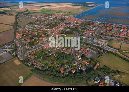 An aerial view Wells-next-the-Sea a port on the North Norfolk coast of England.summer - Stock Photo