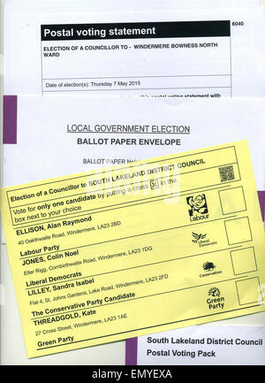 Cumbria, UK. 24th April, 2015. Local Government Election UK 24th April 2015 Postal vote ballot papers sent out for - Stock Photo