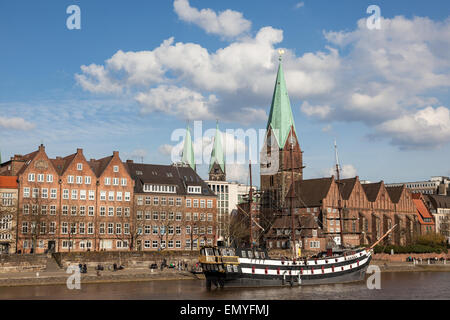Historic sailing ship at the Weser river in Bremen, Germany - Stock Photo
