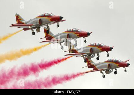 CASA C-101EB Aviojets of the Spanish Air Force Aerobatic team, Patrulla Aguila, perform during MIA 2104. - Stock Photo