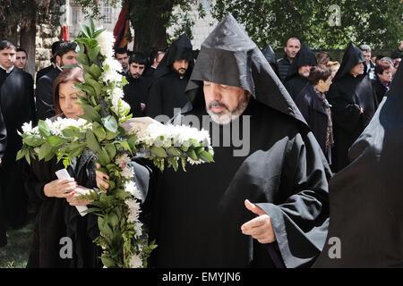 Jerusalem. 24th Apr, 2015. Armenian Patriarch, Archbishop NOURHAN MANOUGIAN, and MK ZEHAVA GALON, partake in a ceremony - Stock Photo