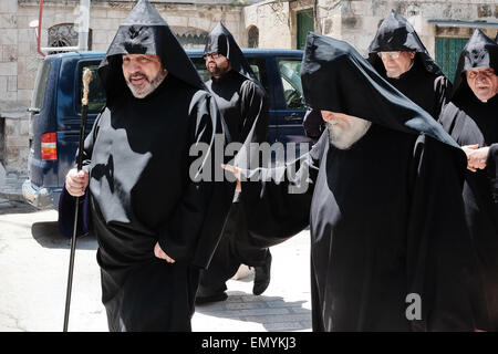 Jerusalem. 24th Apr, 2015. Armenian Patriarch, Archbishop NOURHAN MANOUGIAN (front left), partakes in a ceremony - Stock Photo