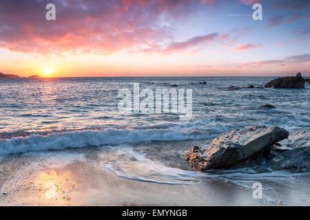 Beautiful beach at sunset - Stock Photo