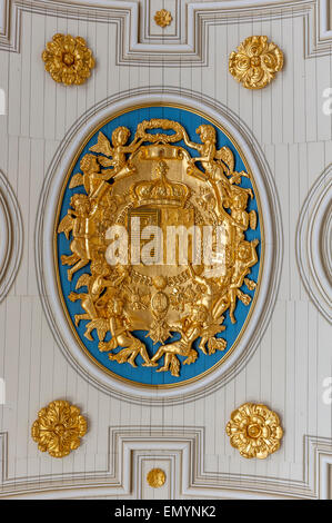 Ceiling crest at The Parliament of Brittany. Rennes. Brittany. France. - Stock Photo