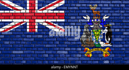 flag of South Georgia and the South Sandwich Islands painted on brick wall - Stock Photo