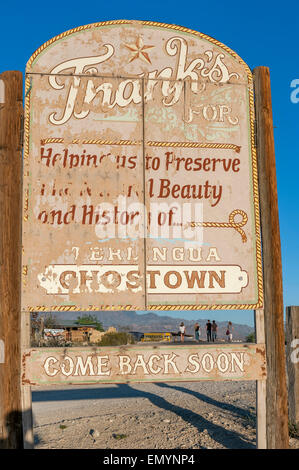 Ghost town sign. Terlingua, Big Bend National Park. Texas. USA - Stock Photo
