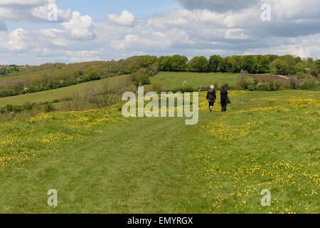 Walkers hikers on Little Solsbury Hill Batheaston Somerset England UK - Stock Photo