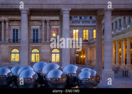 Twilight in the courtyard of Palais Royal, Paris, France - Stock Photo
