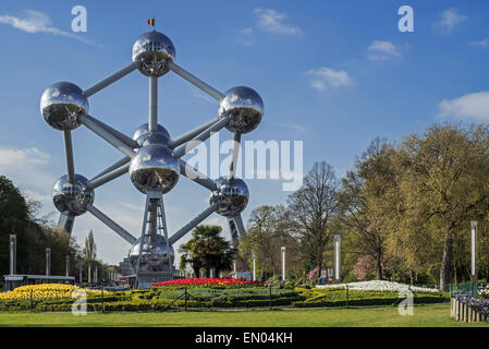 The Atomium, landmark in capital city Brussels originally constructed for Expo 58, the 1958 Brussels World's Fair - Stock Photo