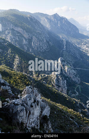 The Kyrenia Mountain Range from St Hilarion Castle, near Girne (Kyrenia), Northern Cyprus - Stock Photo