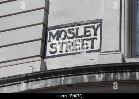Mosley Street Sign in Manchester City Centre - Stock Photo