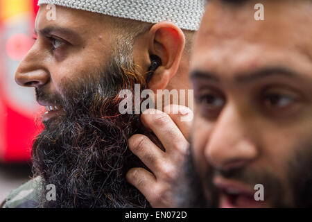 London, UK. 24th April, 2015. File Images: Islamist Abu Haleema seen here (left) in May 2014 during an Islamist - Stock Photo