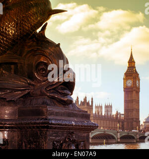 a view of the River Thames and the Westminster Bridge, with the Big Ben in the background, with a filter effect - Stock Photo