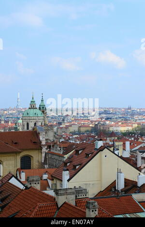 roofs from Prague castle in Prague city center - Stock Photo
