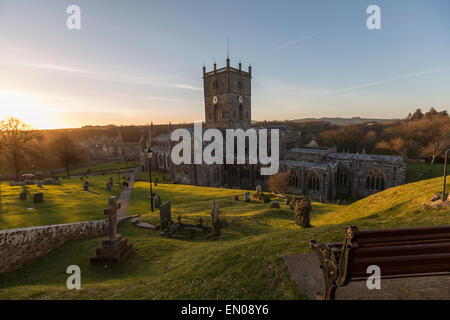 St David's Cathedral at sunset with the graveyard - Stock Photo