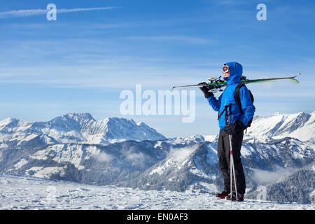 freestyle skiing in Alpine mountains - Stock Photo