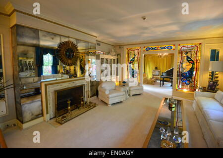 The interior of Graceland's Elvis Presley's home in Memphis - Stock Photo