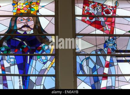 Stained glass window of King George of Podebrady on railway station, Podebrady, Czech Republic - Stock Photo